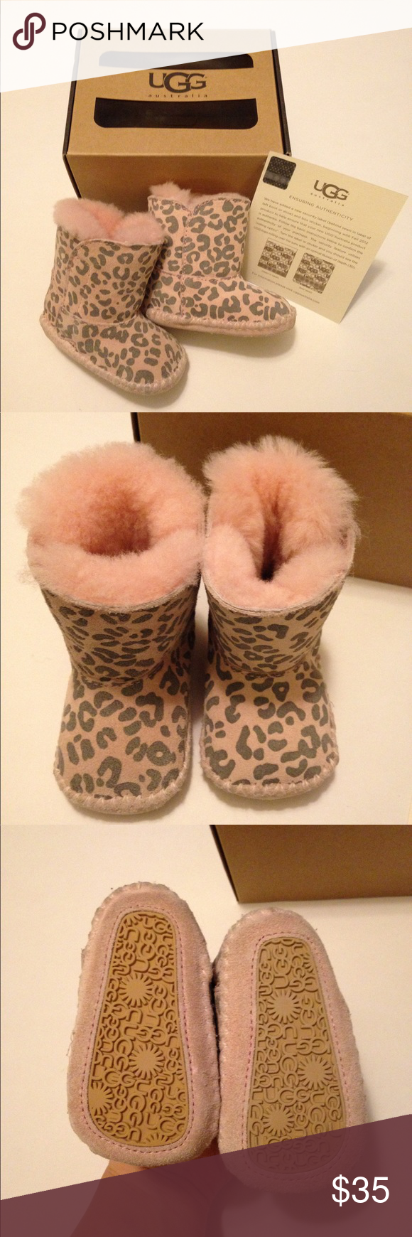 89111452252 Infant UGG Booties Infant Cassie Leopard pink UGG boots, size 0/1 XS ...