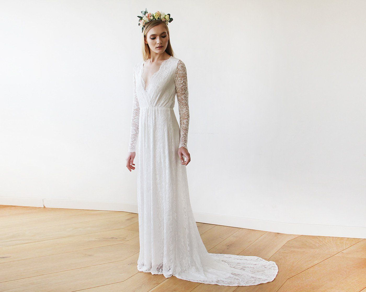 Wedding dress wrap  Ivory Wrap Floral Lace Long Sleeve Gown with a Train blushbridal