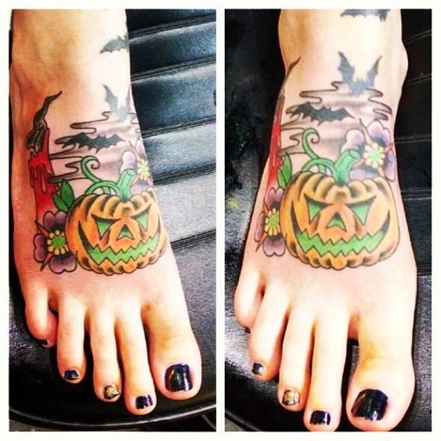 halloween, tattoo, pumpkin, black flame candle, hocus pocus tattoo.