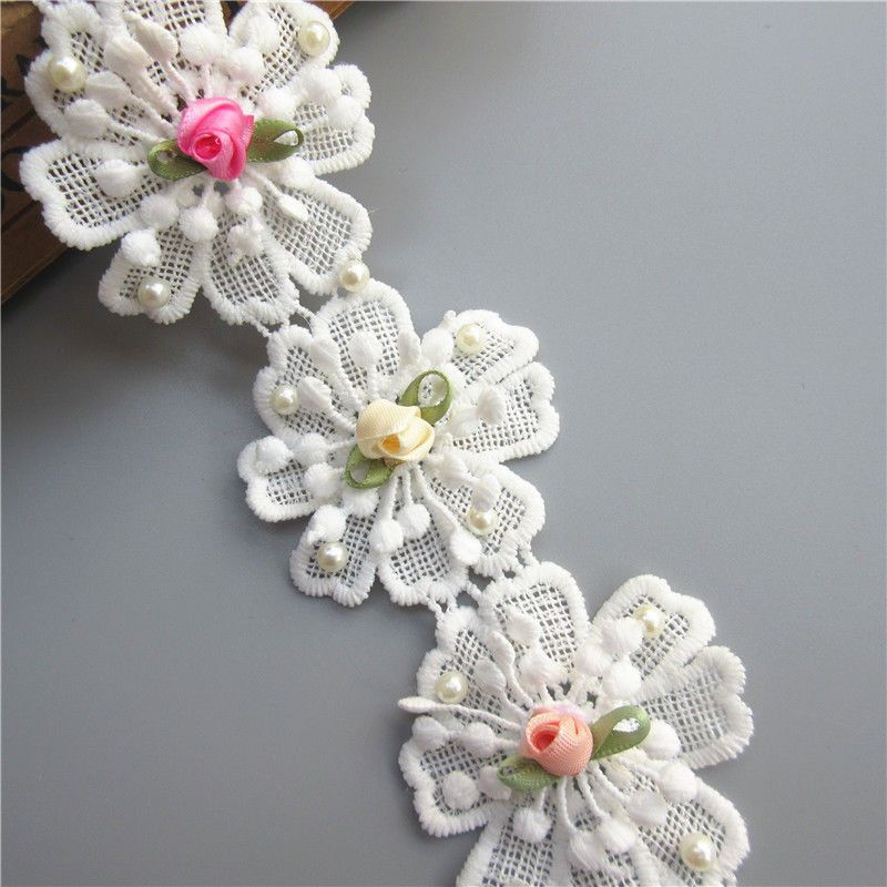 1 yd Rose Pearl Flower Leaves Lace Trim Wedding Ribbon Applique DIY Sewing Craft