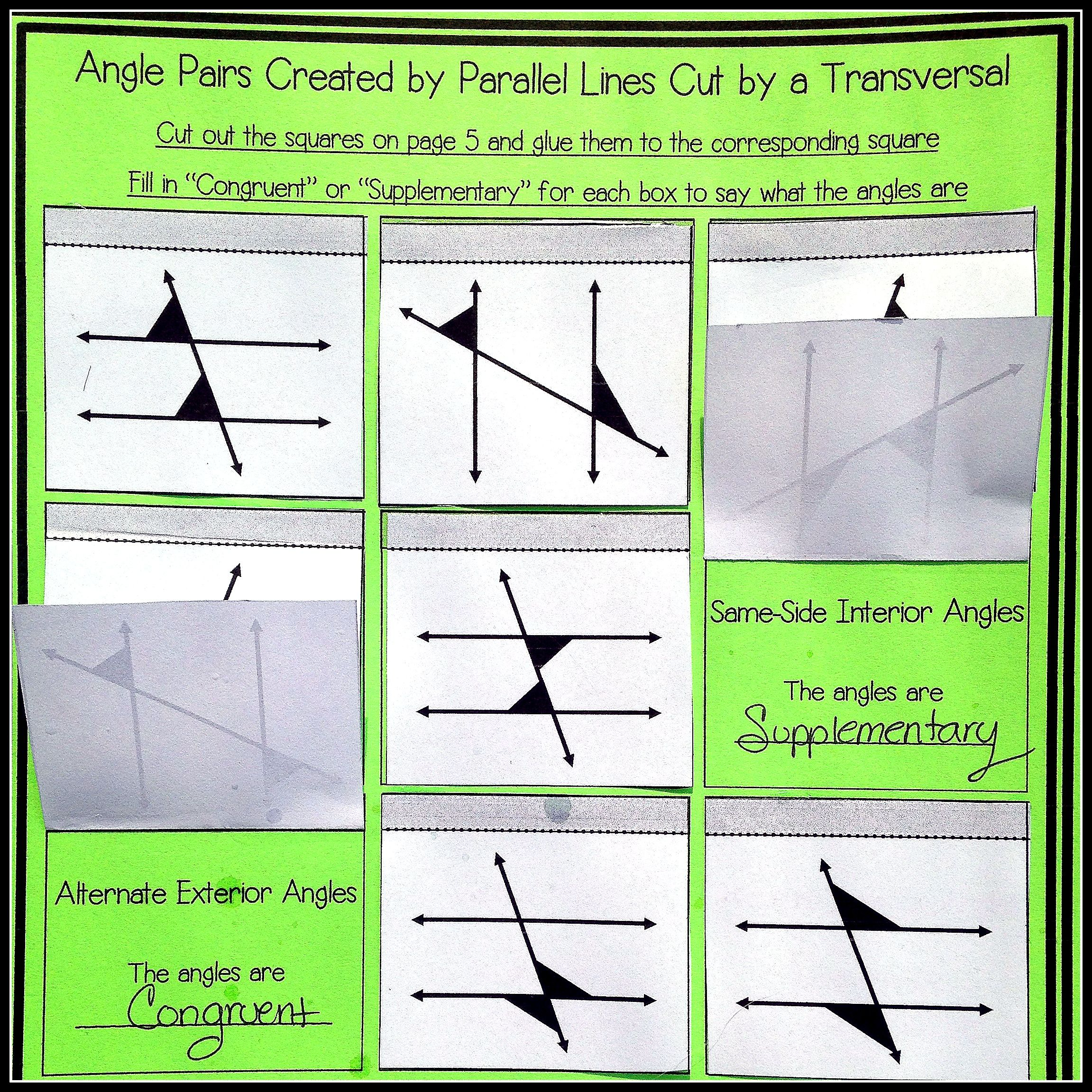 Parallel Lines Cut by a Transversal ~ Notes and Worksheets ...