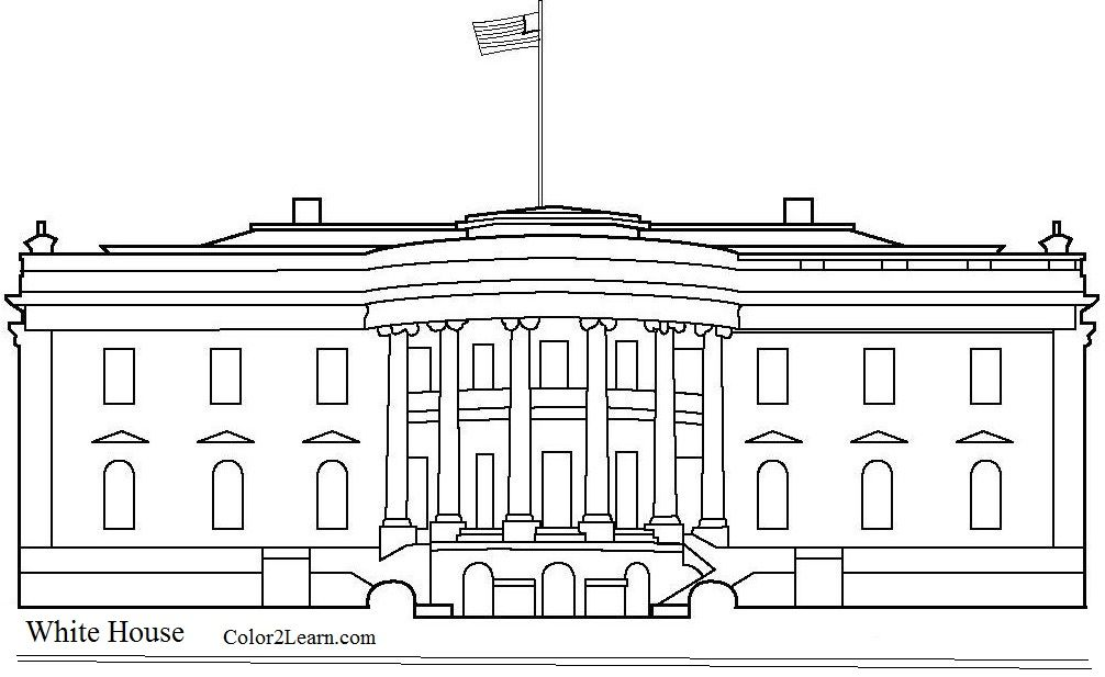 Line Art Of White House : White house coloring page united states landmarks