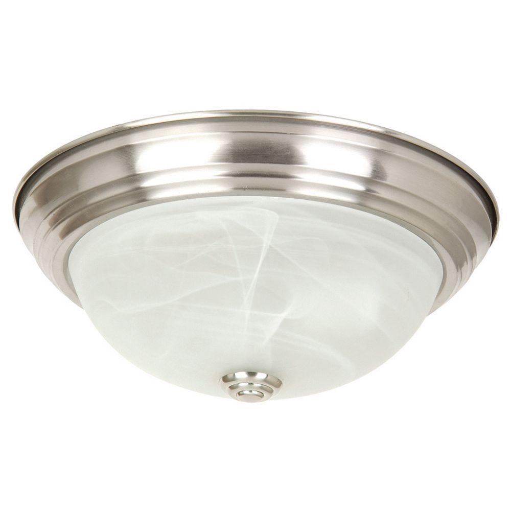 Yosemite Home Decor Belen 2-Light Satin Nickel Flushmount with White Marble Glass Shade