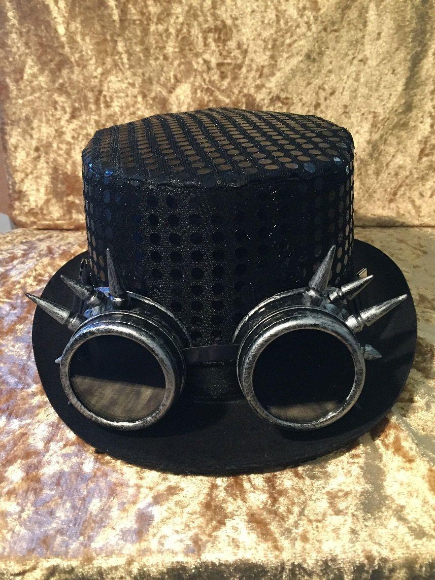 Steampunk Black Sequin Top Hat 24879415fa4