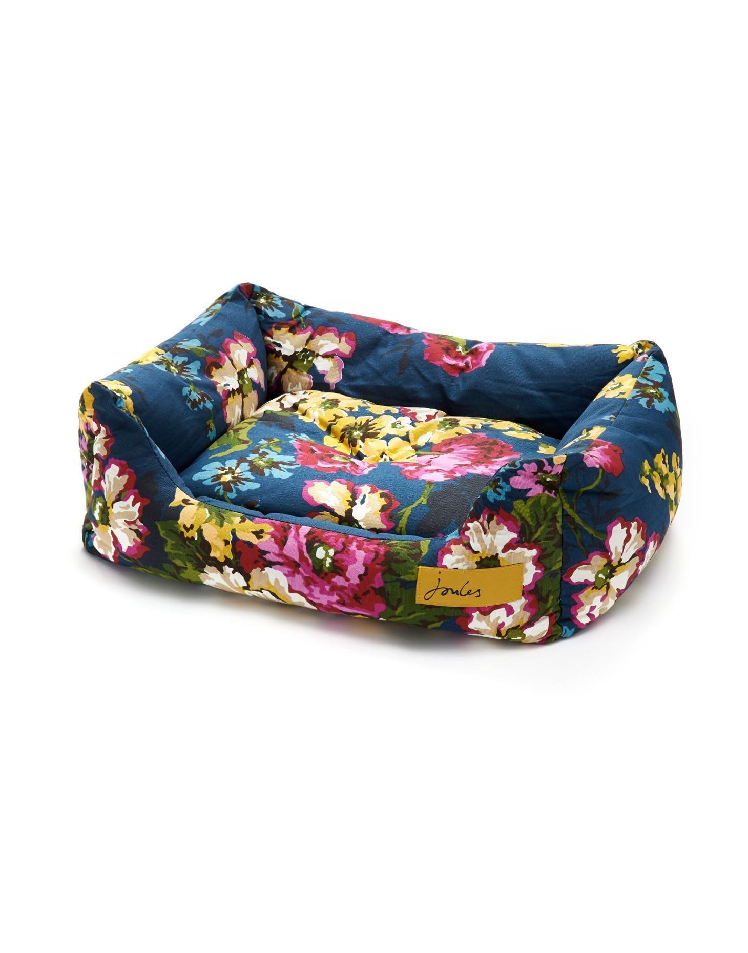 Navy Floral Snugglebed Square Dog Bed Joules UK Dog