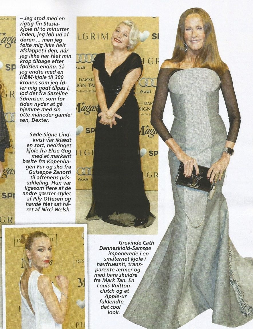 Danish tv host Signe Lindkvist in ELISE GUG black dress at  Dansk Design Talent- Magasin Prisen.