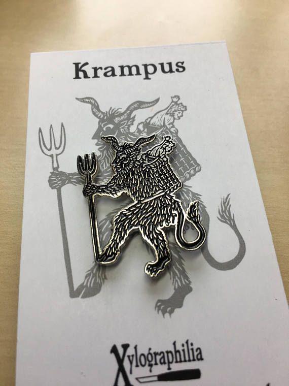 Krampus Christmas Devil enamel artist pin nickel free Devil, Free