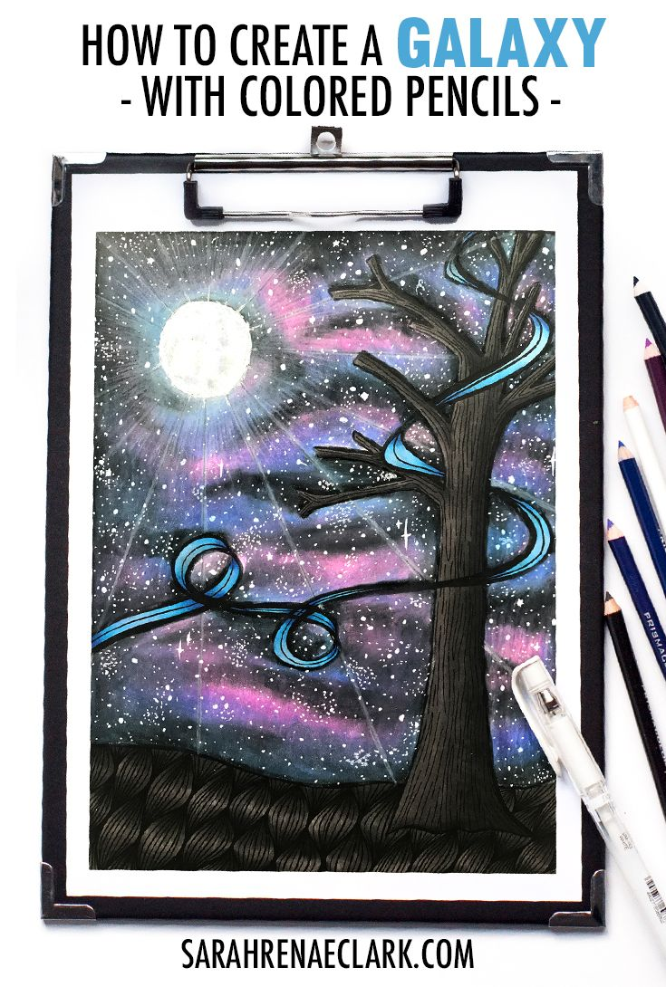 How To Create A Galaxy With Colored Pencils Space Drawings