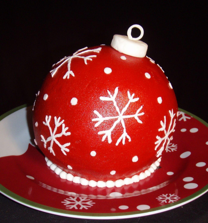 Christmas Ornament Cake Made Using The Wilton Ball Pan