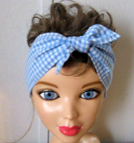 Hair Bandana / Blue Gingham Hair Bandana / Hair Band / Boho Hair Band /  Hippie Bandana / RockaBilly HairBand / Teens Women by CrochetnMoreByAlida on Etsy