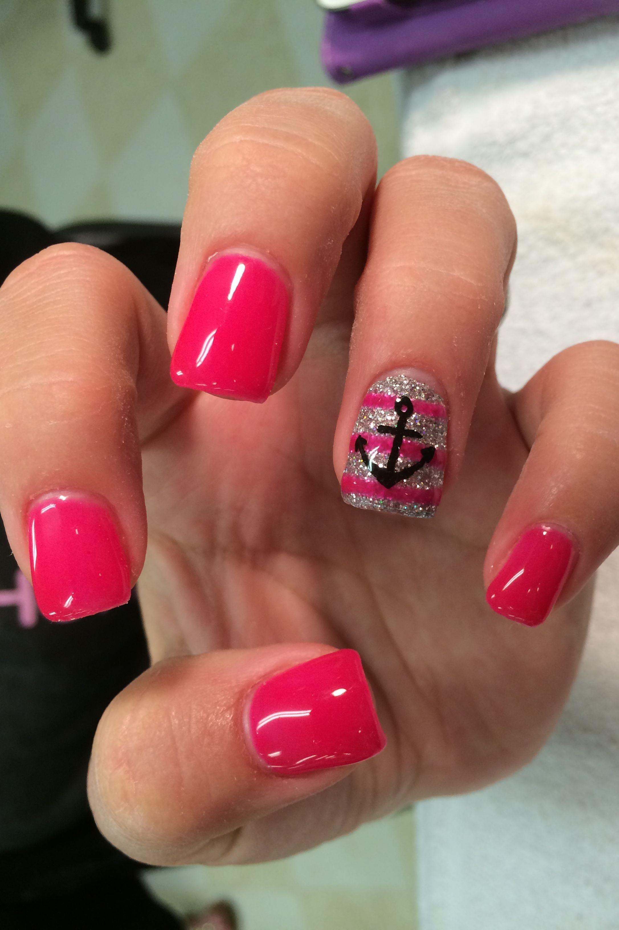 Hot pink anchor nails | Pretty nails :-) | Pinterest | Anchor nails ...