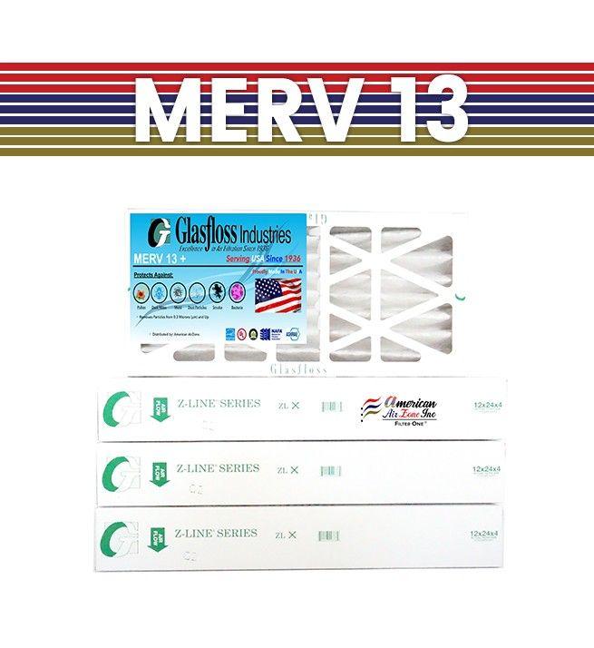 Glasfloss 14x25x4  4 U2033 Merv 13 Pleated Air Furnace Filter
