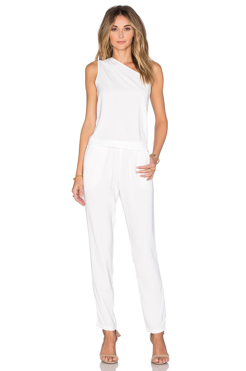 8280a563eaa0 Bobi BLACK Georgette One Shoulder Jumpsuit in White   Clothes   One ...
