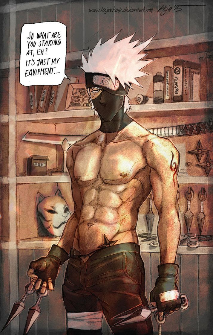 <3 Kakashi - by KejaBlank, DeviantArt. Yes Kakashi. That's what all fan girls were looking at. Your 'weapons'.