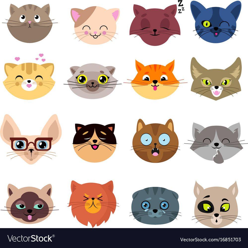 Fun Cartoon Cat Faces Cute Kitten Portraits Vector Image On