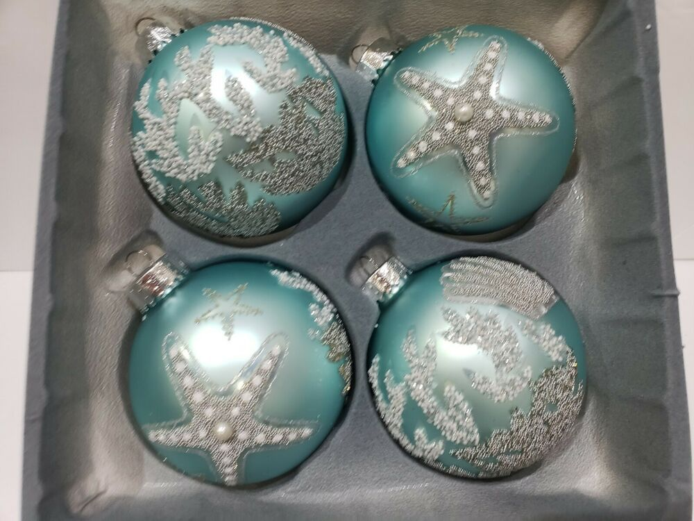 "Coastal Nautical Beach Aqua Blue Plastic Christmas Ornaments 2.5/"" Set Of 8"