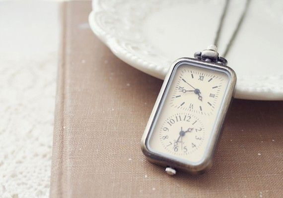 double clock pocket watch necklace $30