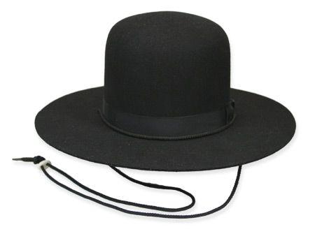 a22f4401681 1800s Mens Black Wool Felt Wide Brim Hat