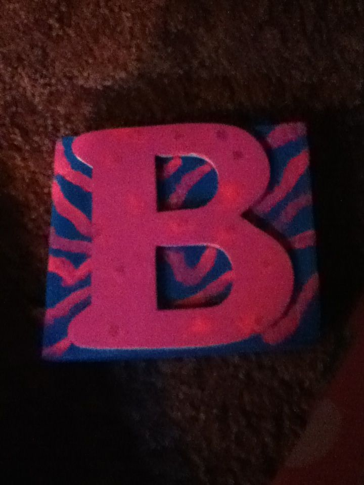 Scrap wood block coverd with craft paint and pink nail polish zebra print with craft letter!