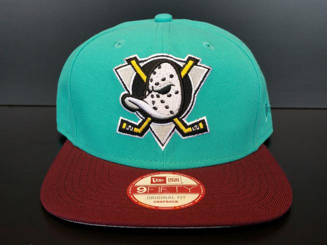online store ee0f6 52570 Anaheim Mighty Ducks Snapback Vintage Exclusive Custom Teal and Maroon Duck  Logo, Custom Caps,