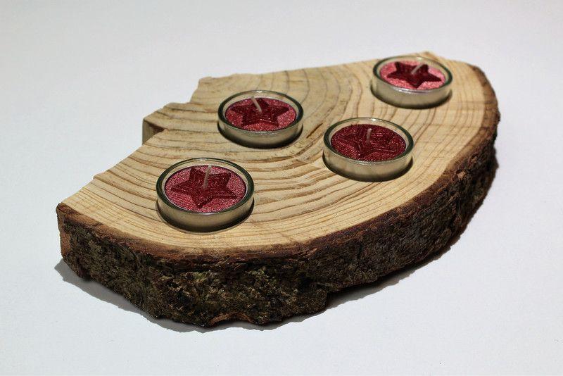 Adventskranz - Adventskranz Teelichthalter rot Natur Holz - ein Designerstück von CharLen-Dorit bei DaWanda