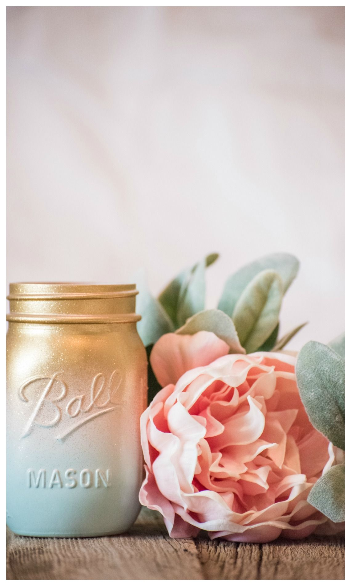 Easter Mason Jar Centerpiece Vase Flowers Blue Peach Gold Glitter ...