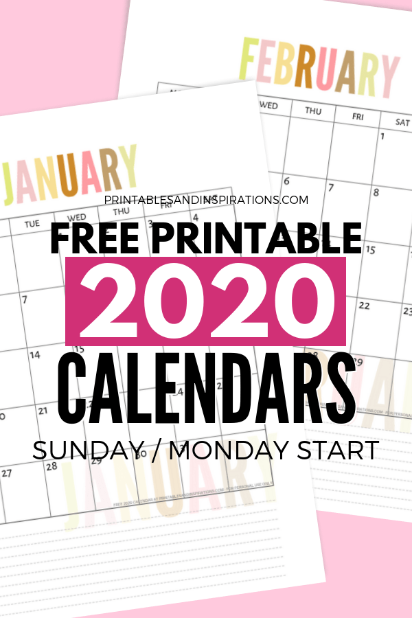 Free 2020 Calendar Printable Planner Pdf My Ultimate List Printables And Inspirations Monthly Planner Printable Planner Printables Free A5 Planner Printables Free