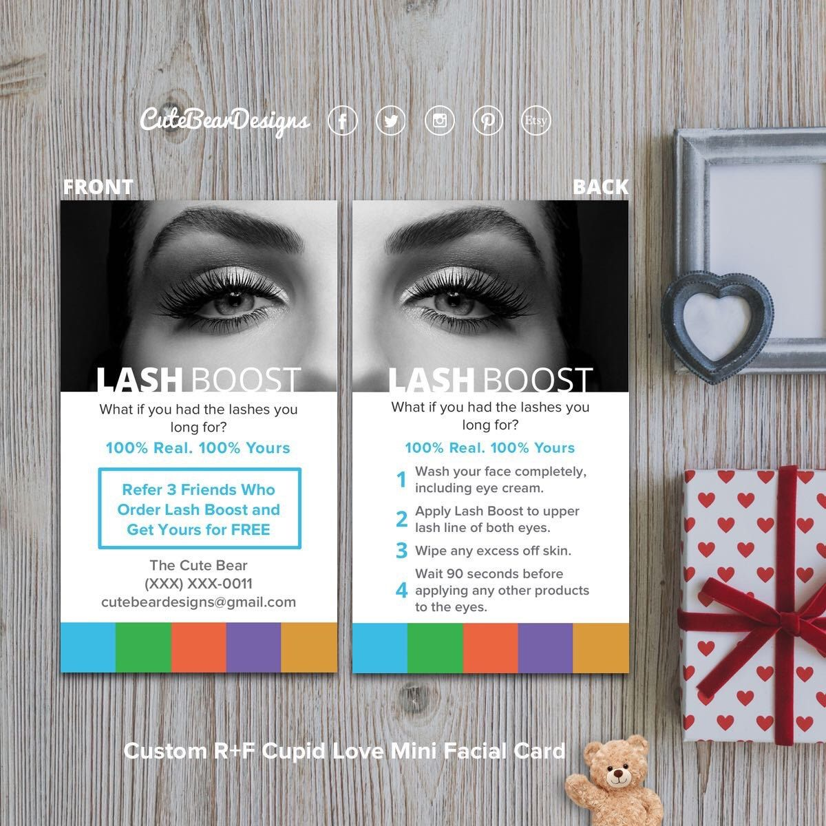 30aa0a9190a Custom R+F Lash Boost Promotion & Instruction Card Mini Facial, Rodan And  Fields