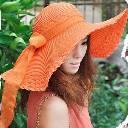 Bow wide brim straw hat for girls summer wear Bohemian style