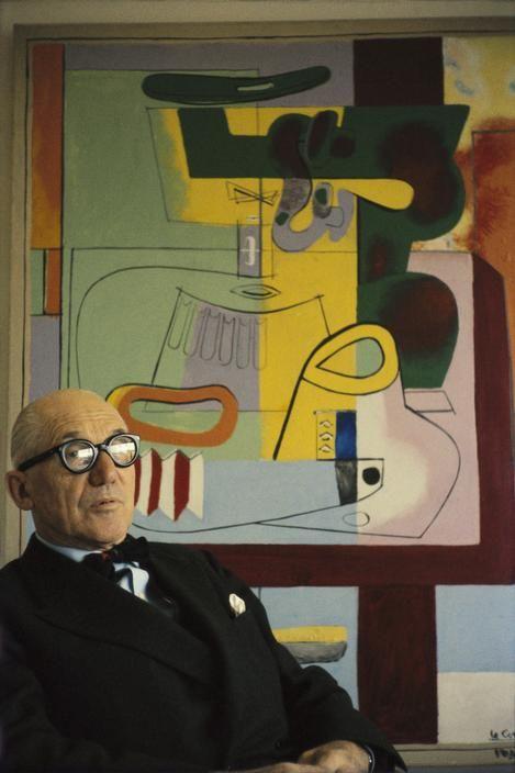 Le CorbusIer sitting by his 'Nature Morte Vezelay' painting (1939). Photo taken at 24, rue Nungesser-et-Coli, Paris by Rene Burri, 1959