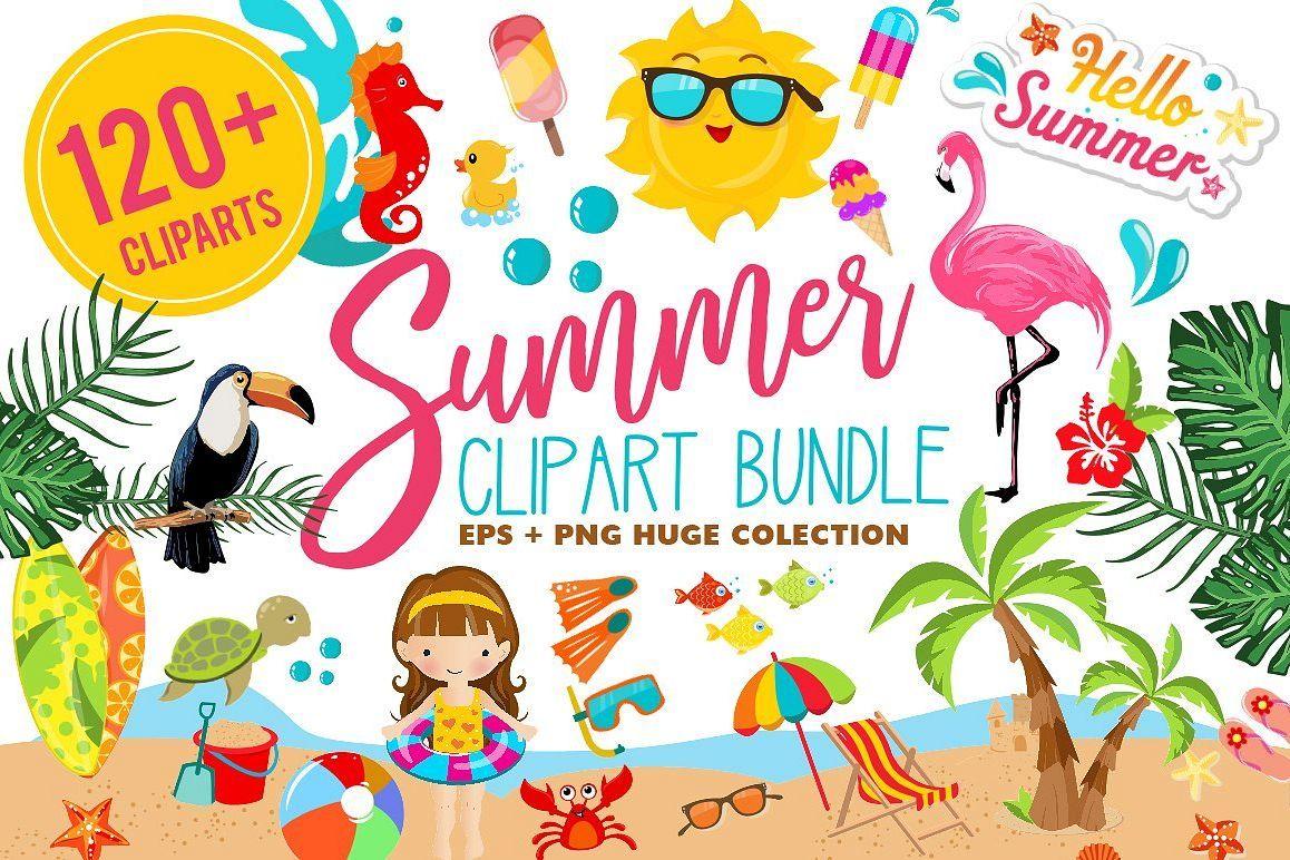 Summer clipart bundle 126 cliparts summer clipart