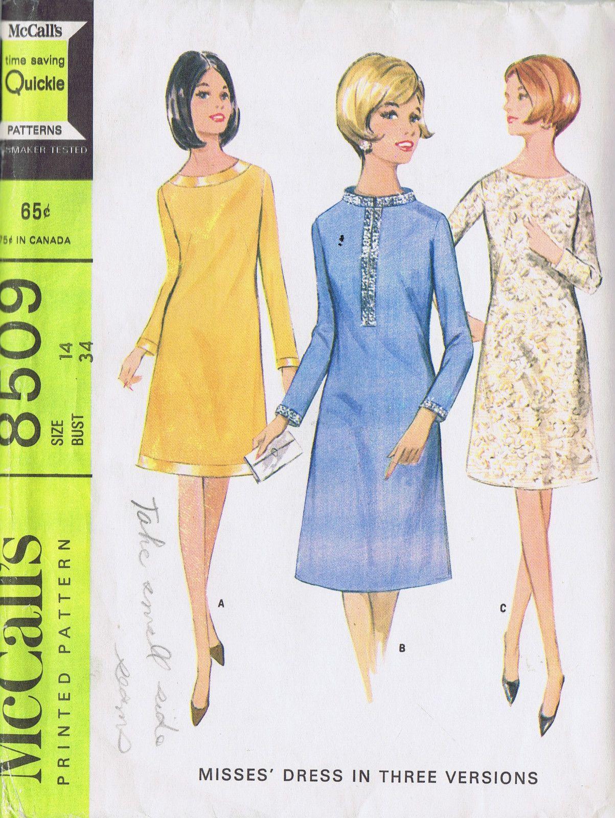 60s VINTAGE SHEATH DRESS SEWING PATTERN MCCALL\'S 8509 SZ 14 BUST 34 ...
