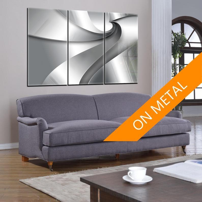 Abstract geometric print metal wall art print on metal