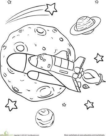 Rad Rocket Ship Coloring Page | Pinterest | Worksheets, Ships and Spaces