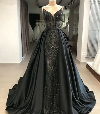 Black Shiny Sequined Satin Detachable Prom Evening Party Dress Celebrity Gown