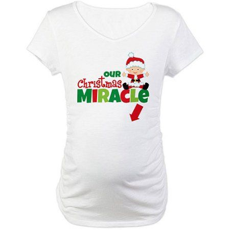 9882896d6aa0b Cafepress Our Christmas Miracle Maternity T-Shirt, Women's, Size: Large,  White