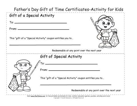 Printable Father S Day Gift Certificates Coloring Sheets