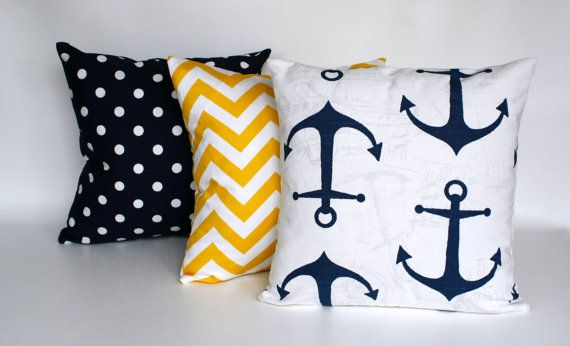 Zipper Pillow Navy Blue Pillows Navy And Yellow Pillow