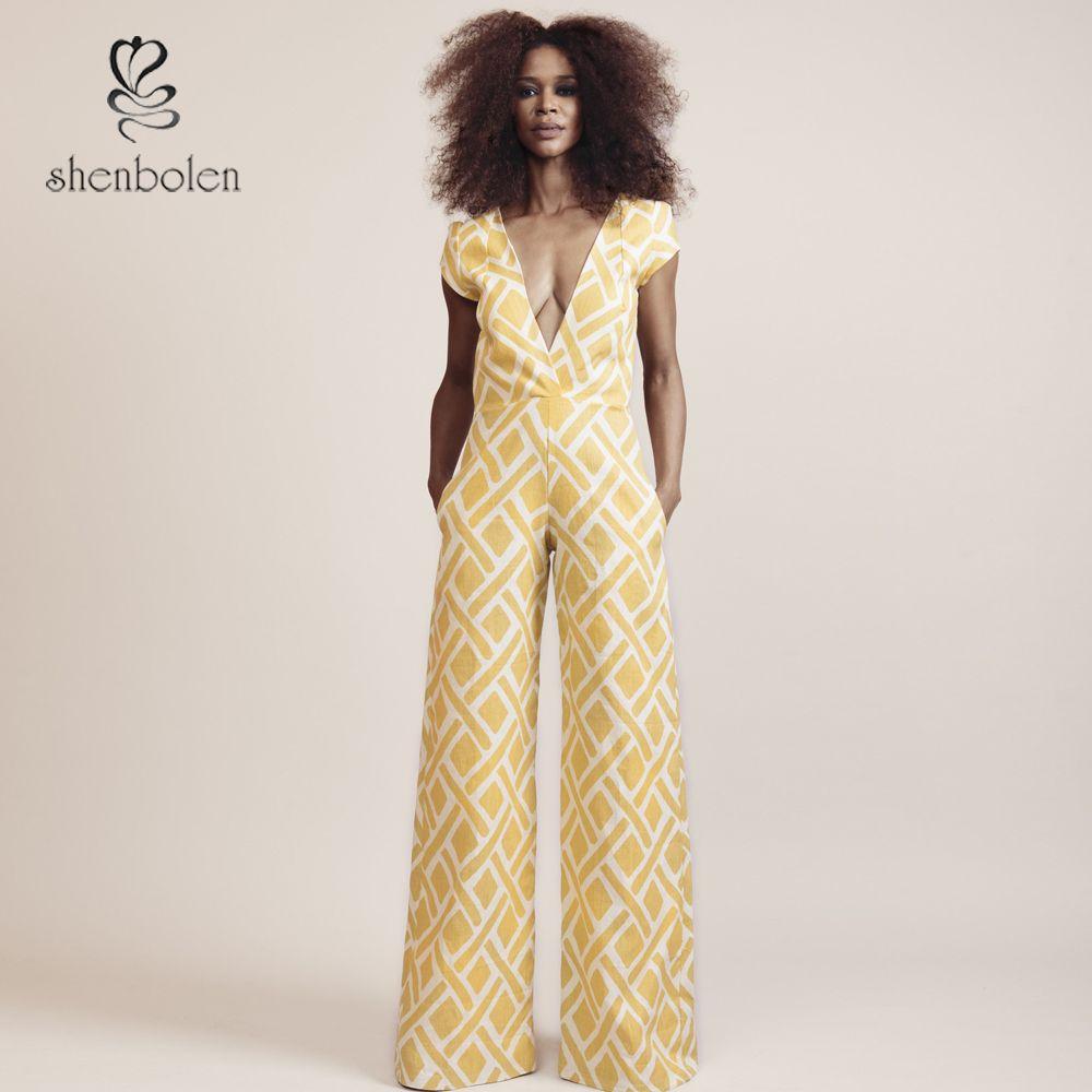 2018africa Batik Fabric Jumpsuit Women Overall Sexy Deep V Collar
