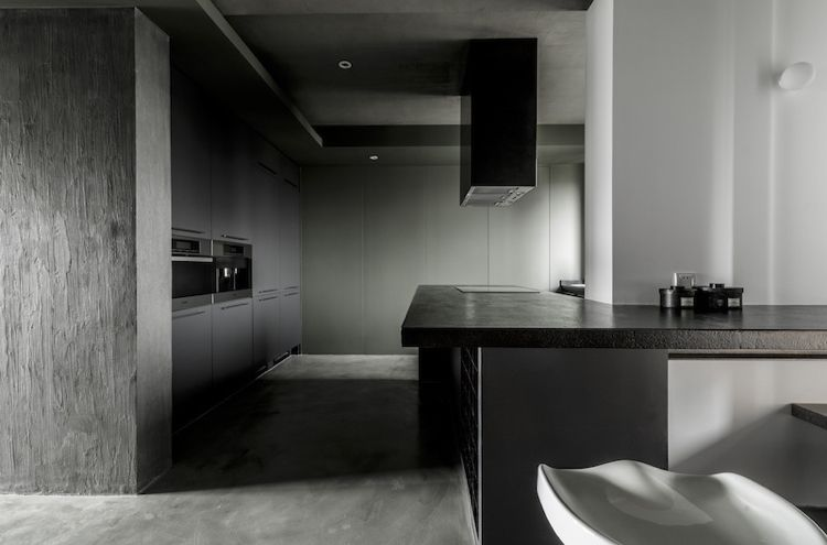 Farbe Grau -visuelle-effekte-kueche-schwarz-modern-minimalistisch ...