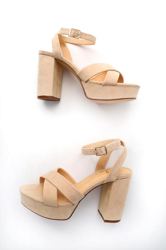 nude suede platform heels