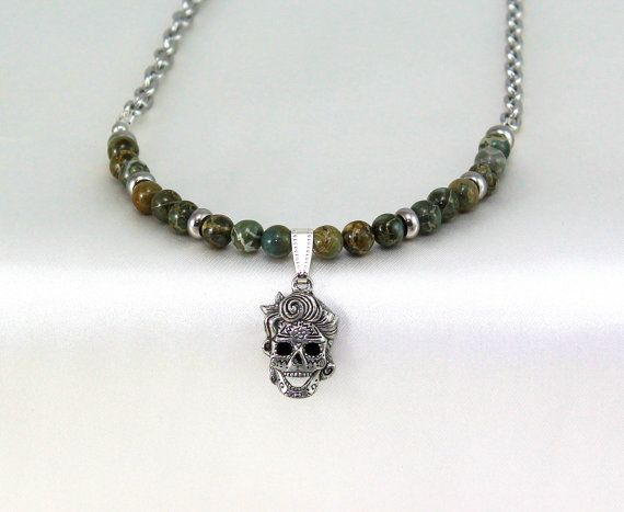 Sugar Skull Necklace.  Skull Necklace.  Gemstone by BlingbyDonna