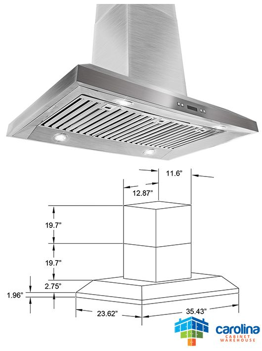 36 Island Range Hood Minimum Required Ceiling Height 8 Feet Chimney Extension No Duct Size Rounded Range Hoods Best Range Hoods Kitchen Cabinets Prices