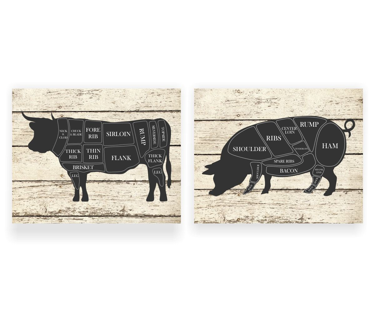 Kitchen Art Print Cow And Pig Hog Butcher Diagram By