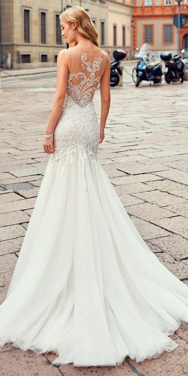 9fd9fee0326d 27 Stunning Trend  Tattoo Effect Wedding Dresses ❤ tattoo effect wedding  dresses trumpet sleeveless lace