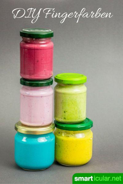Natürliche Fingerfarben für Kinder preiswert selber machen #bastelideenkinder