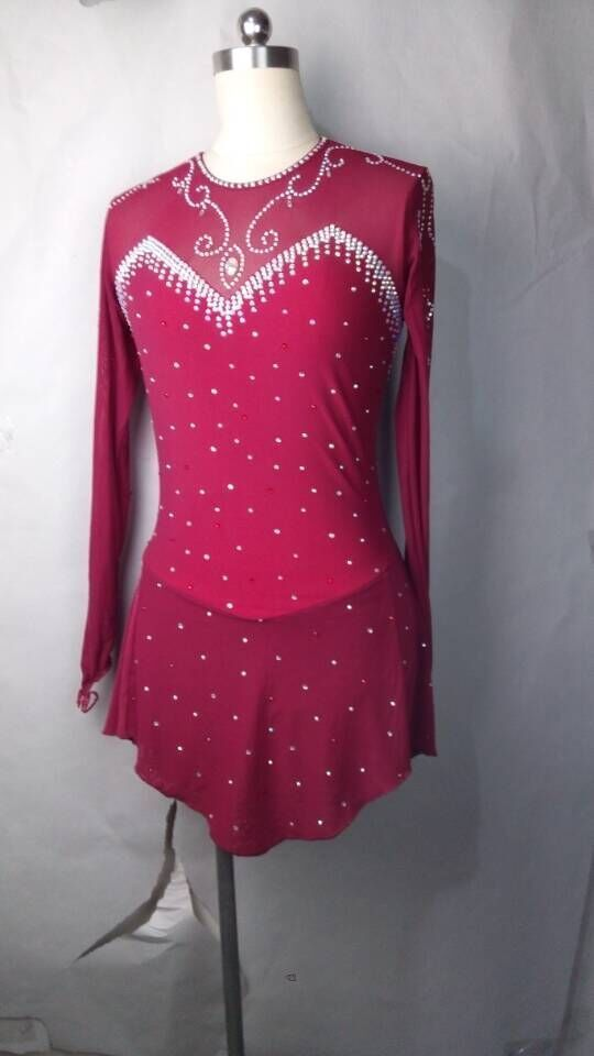 67e19f68e789b wine red ice skating dress competition for women custom figure ice ...