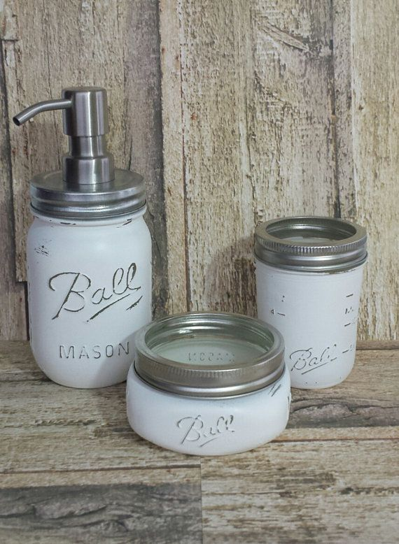Distressed Shabby Chic White Mason Jar Soap or Lotion Dispenser with