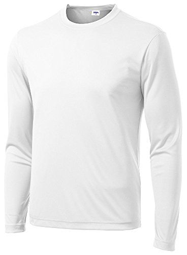 fc70cba90f5 Mens Long Sleeve Moisture Wicking Athletic Shirts WHITES *** Details ...