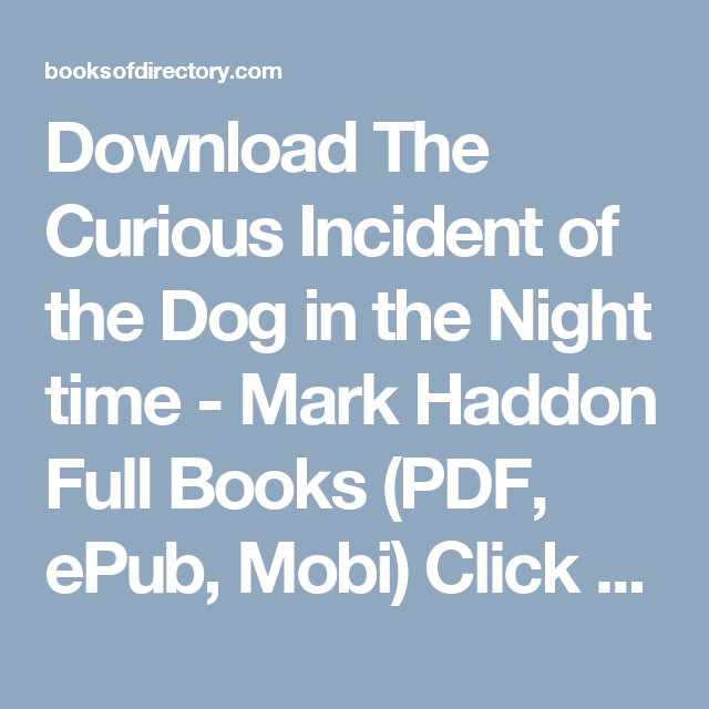 Download The Curious Incident Of The Dog In The Night Time Mark